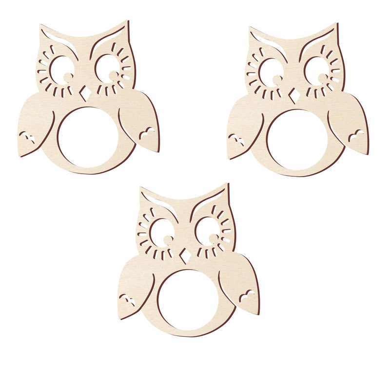 Creatick Studio Owl Wood Napkin Rings- New Home and Housewarming Gift
