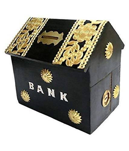 Hut Shape Wooden Coin/Money/Piggy Bank Saving Box - (Black)