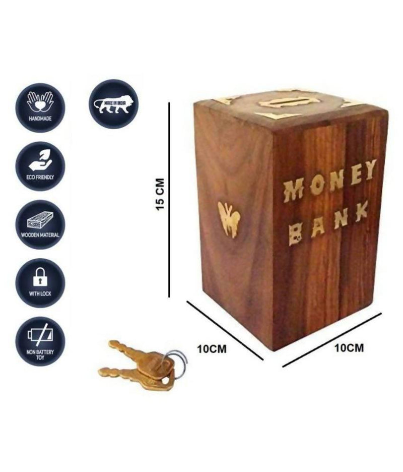 Coin/Money/Piggy Bank Saving Box -( Made with Rosewood | Brass inlay)