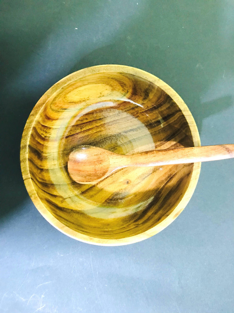 Wooden Bowl with 1 Spoon