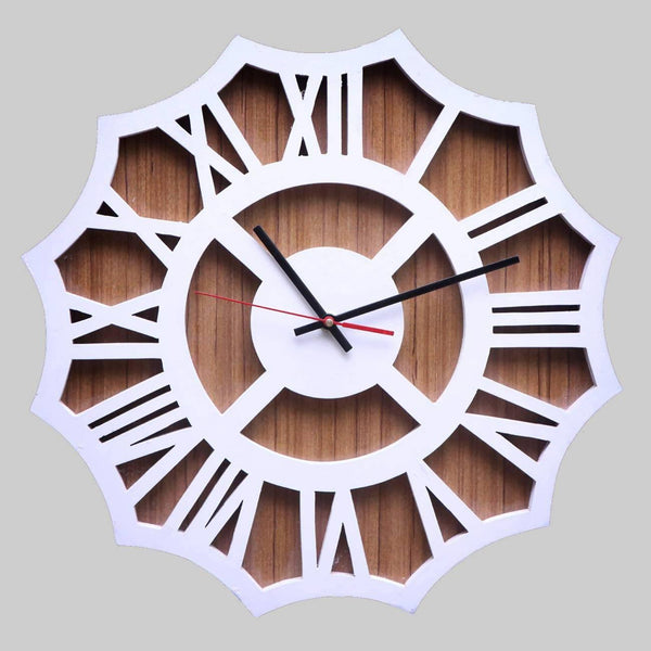 Wood Carving Wall Clock in White & Shaded Brown Color