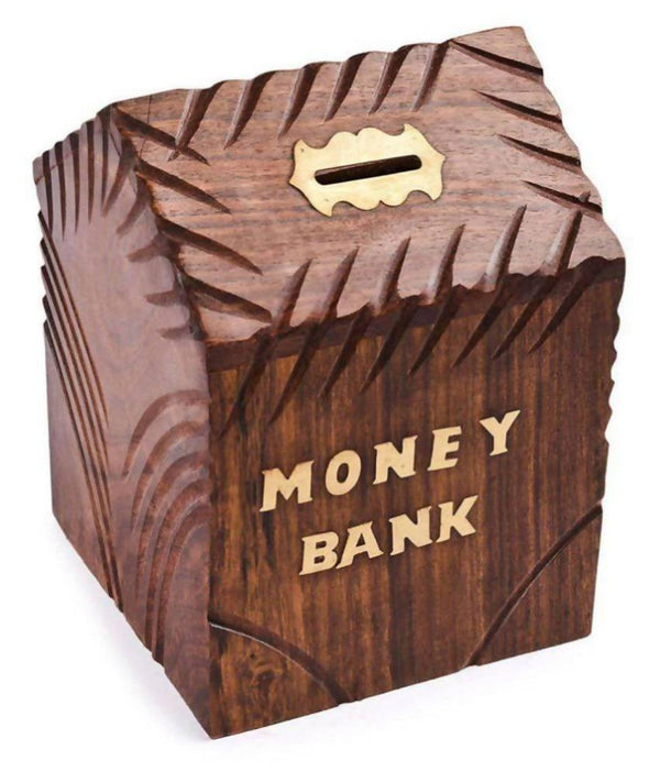 Woodykart Brown Hut Shape piggy bank