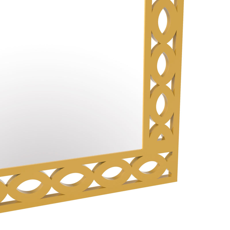 yellow wooden wall decor mirrors