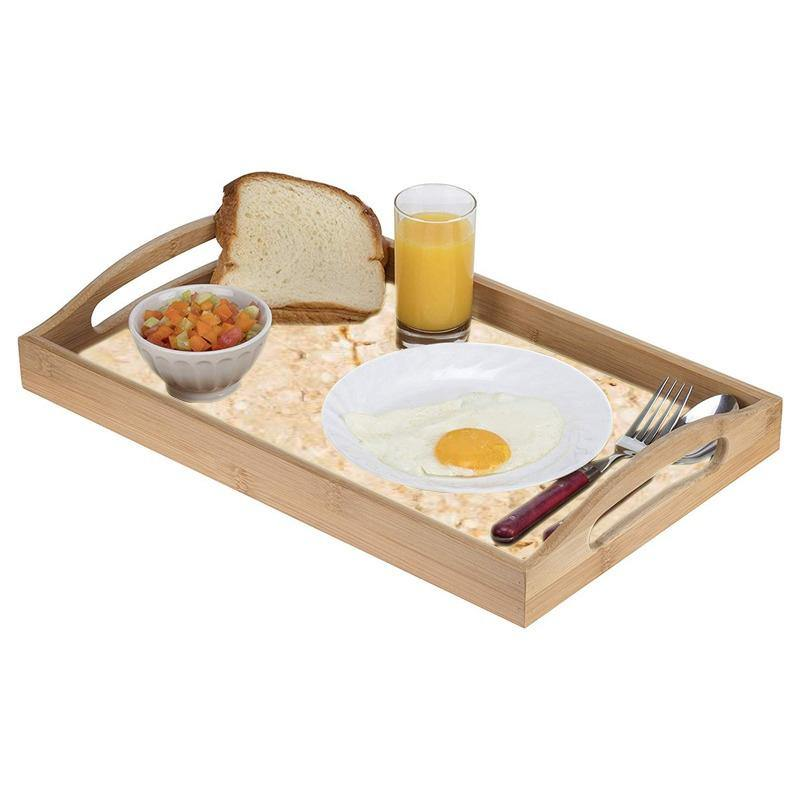Natural Bamboo Wood Designer Large Wooden Serving Tray