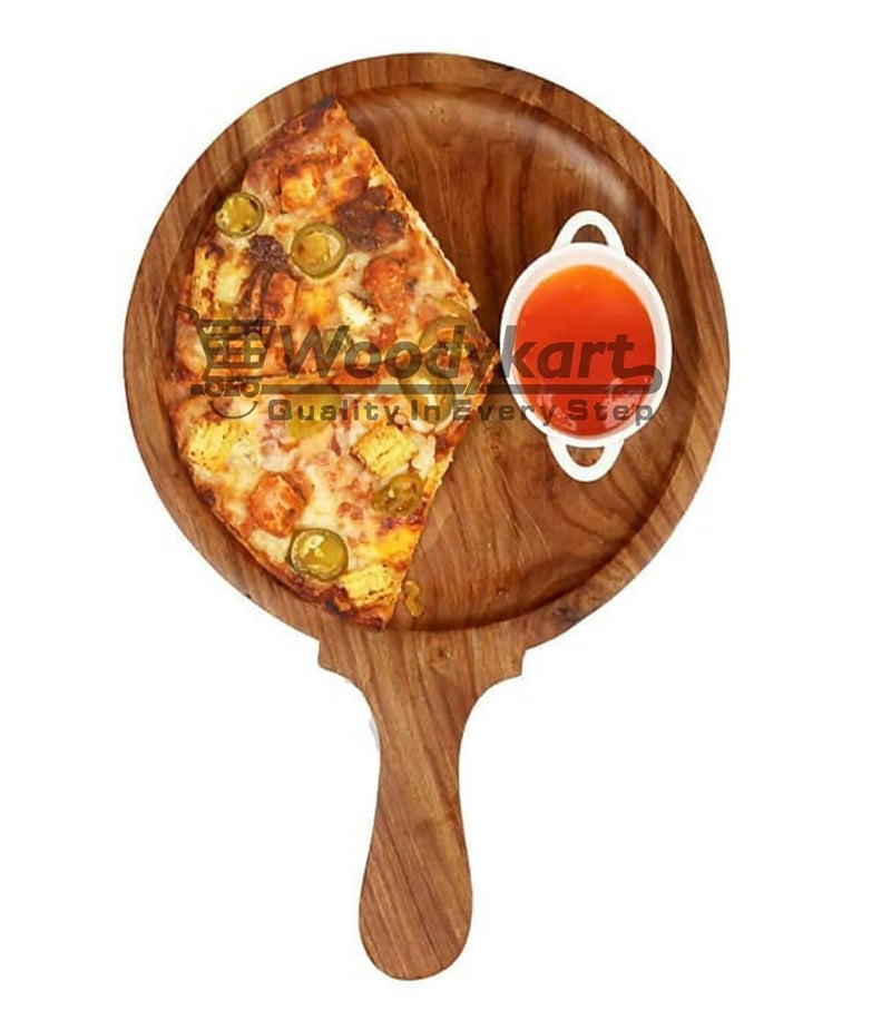 Wooden Pizza Platter / Pan / Snack Serving Plate for Home and Cafe (Round | Slim | Brown)