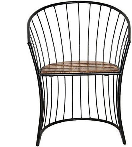 Wooden & Wrought Iron Living Room Chair Solid Wood