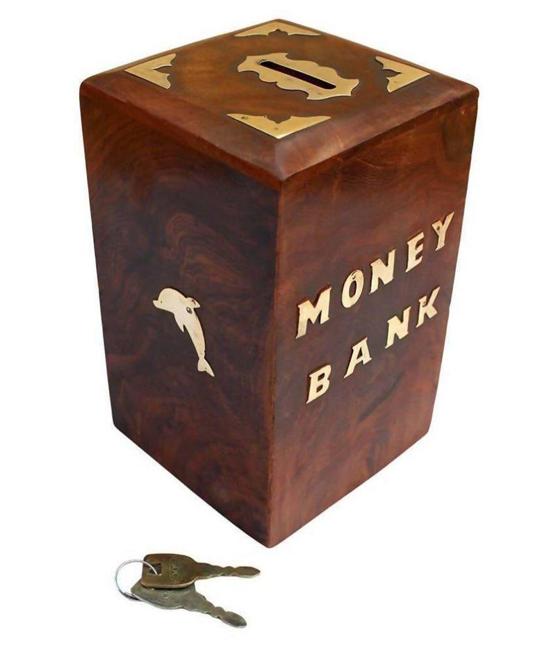 Enchanting Dolphin Coin/Piggy Bank Saving Box - (Made with Rosewood | Wooden Brass Inlay)
