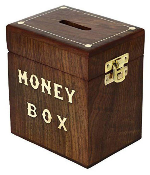 Coin/Money/Piggy Bank Saving Box - (Made with Rosewood | Wooden Brass Inlay Work)