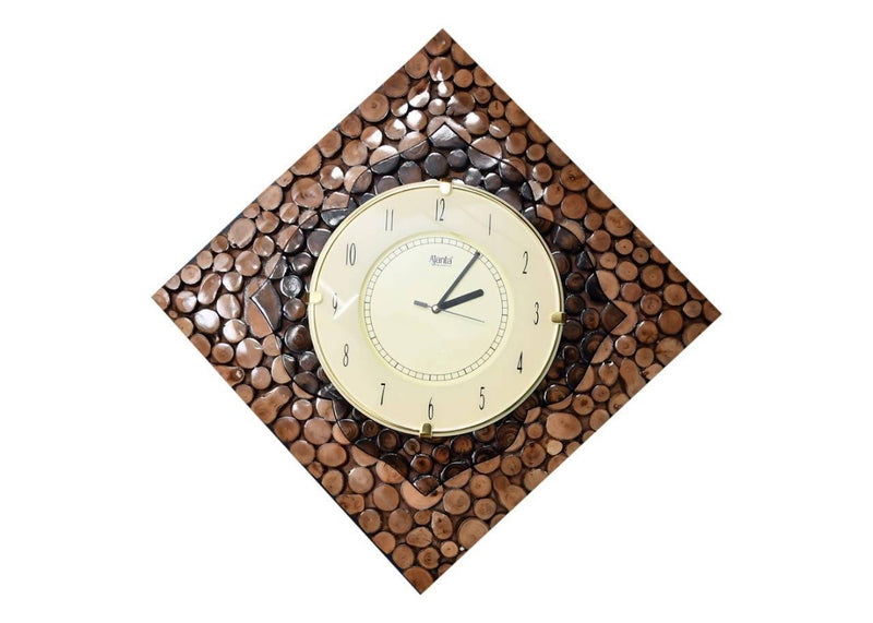 Wooden Square Shape Hanging Wall Clock Antique with double shade