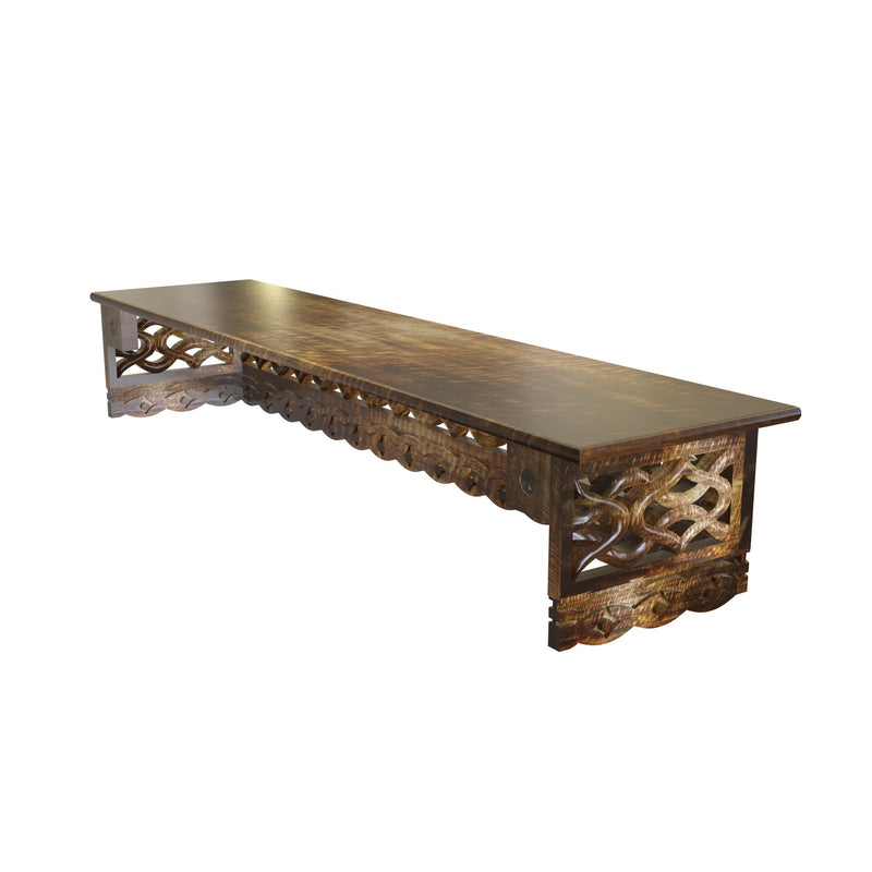 wooden hand carved wall shelf