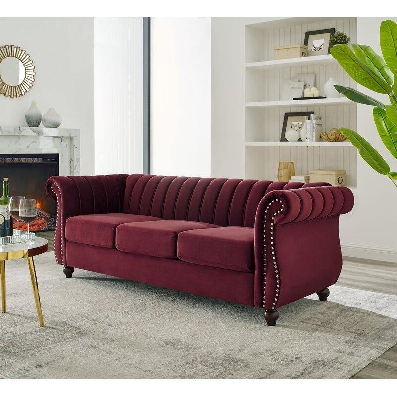 Designer Velvet Rolled Arm Chesterfield Sofa (3 Seater)
