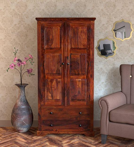 Solid Teak Wood 2 Door Wardrobe Honey Finish - WoodenTwist