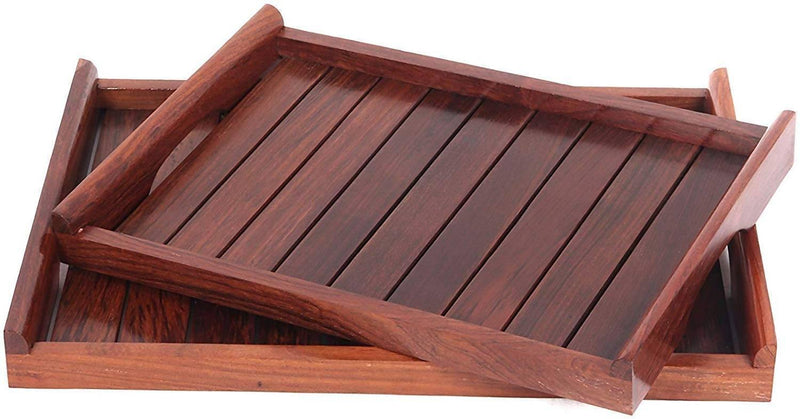 Wooden Serving Tray/Table Décor Brown Set of 2 Trays with Handles