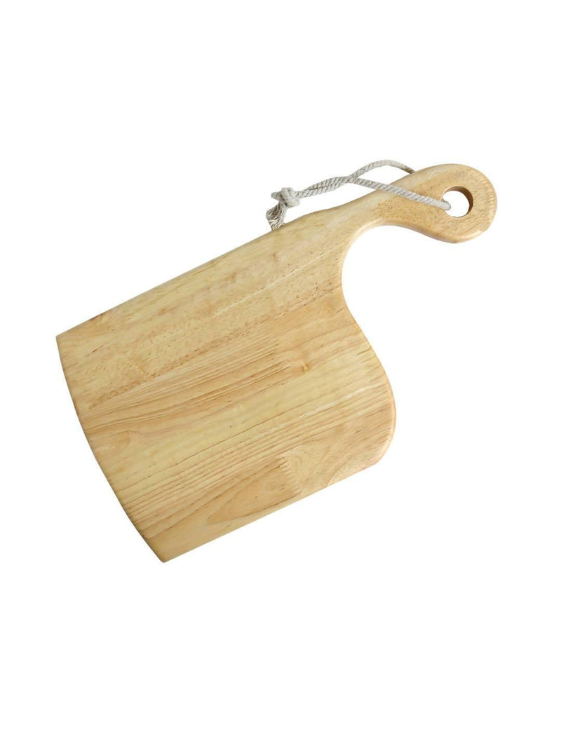 Pure Natural Rubberwood Side Handled Chopping Board