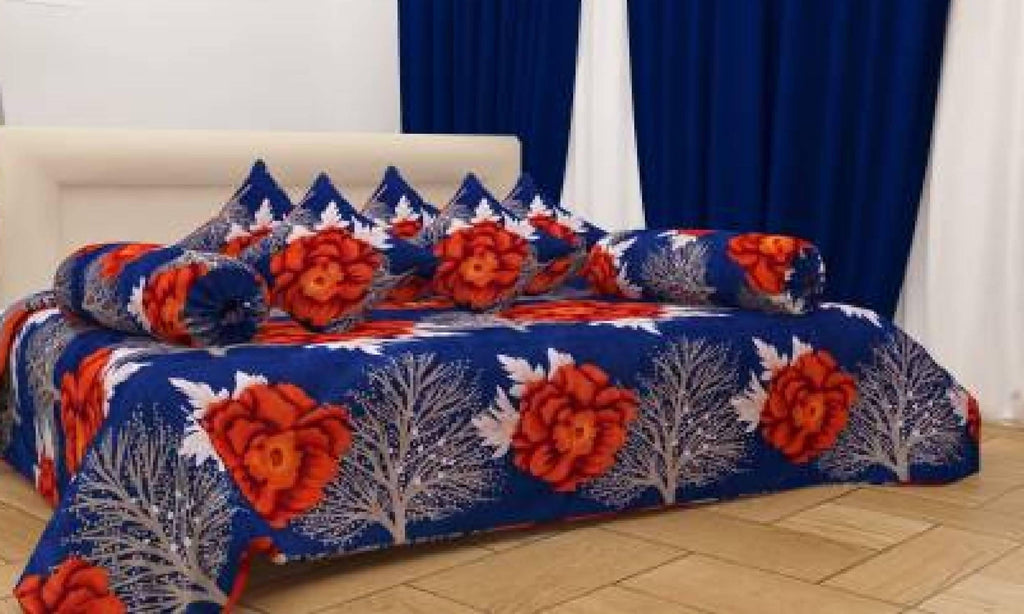 3D Printed Poly Cotton Diwan Set 8 Pcs (1 Single Bedsheet with 5 Cushions Covers and 2 Bolster Covers ) - WoodenTwist