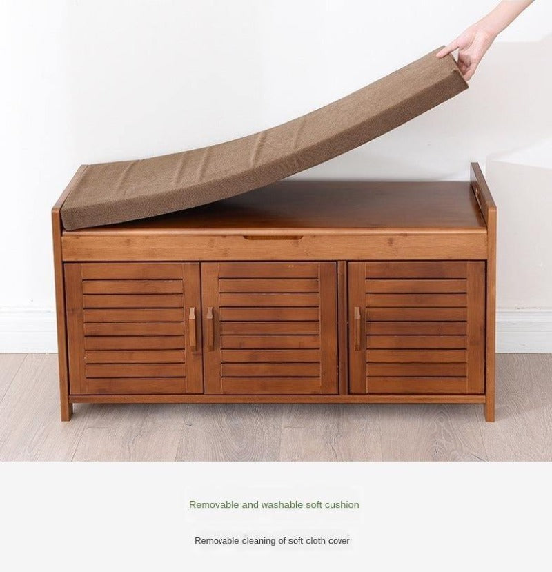 Natural Bamboo Wood 3 Door Shoe Rack Cabinet with Seat