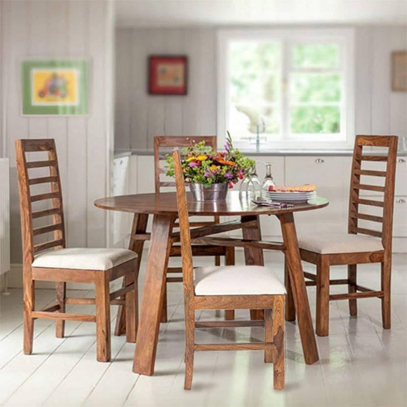 Trendy Solid Wood 4 Seater Dining Set