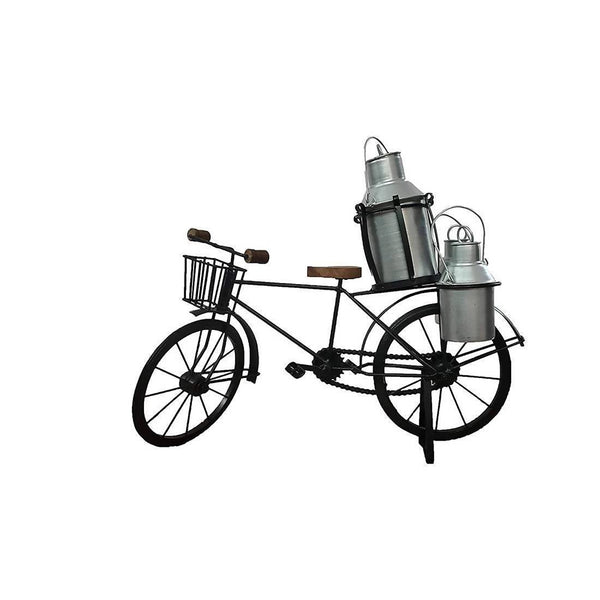 Handmade Antique Decorative Wooden & Wrought Iron Milkman Cycle/Showpiece for Home Décor/Living Room, Table/Desk Top. (Silver)