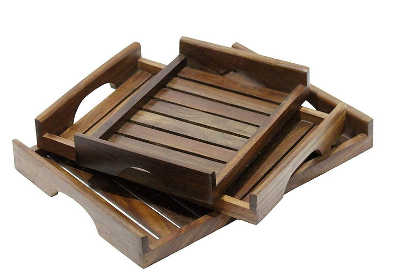 Wooden Serving Tray/Table Décor Brown Set of 3 Trays with Handles