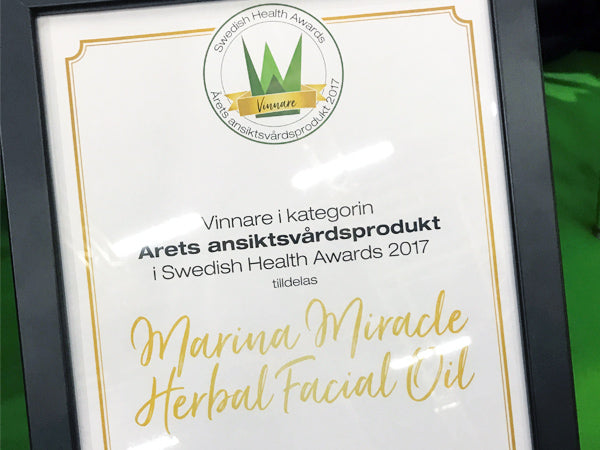 Herbal Face Oil er årets ansiktsprodukt i Swedish Health Awards