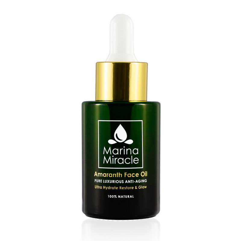 Marina Miracle Amaranth Face Oil for moden og tørr hud med grønn glassflaske og gull dropper