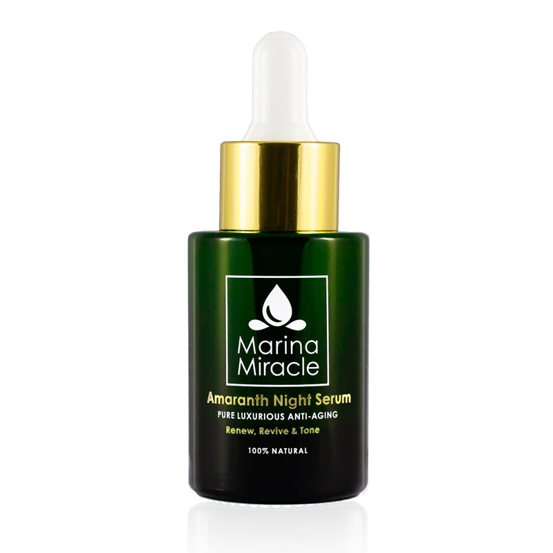 Amaranth Night Serum Grønn glassflaske med dropper