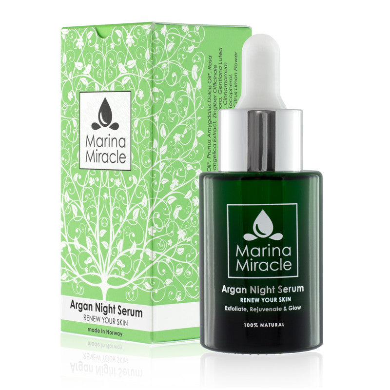 Argan Night Serum in 28 ml glass bottle with dropper in green box