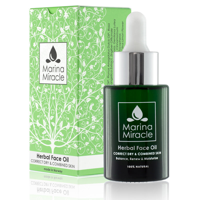 Herbal Face Oil 28 ml glass bottle with dropper and green box