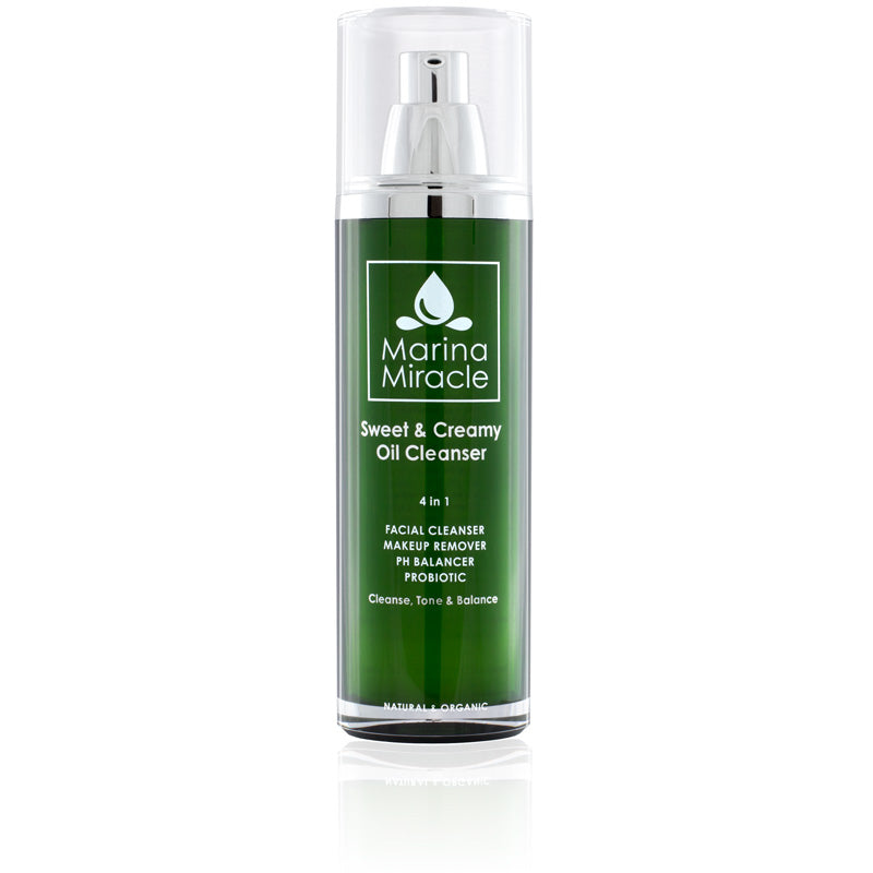 Marina Miracle Sweet & Creamy Oil Cleanser in a green air less bottle with pump
