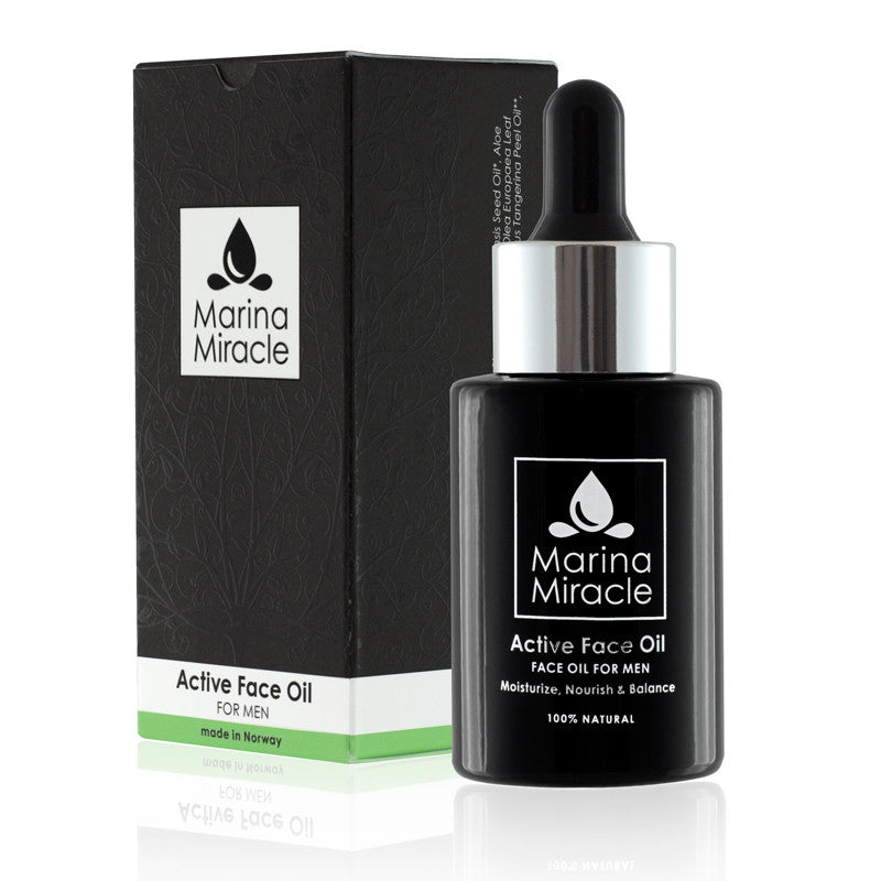 Marina Miracle Active face oil for menn. Helt naturlig ansiktsolje 25 ml i sort glassflaske med sort eske.