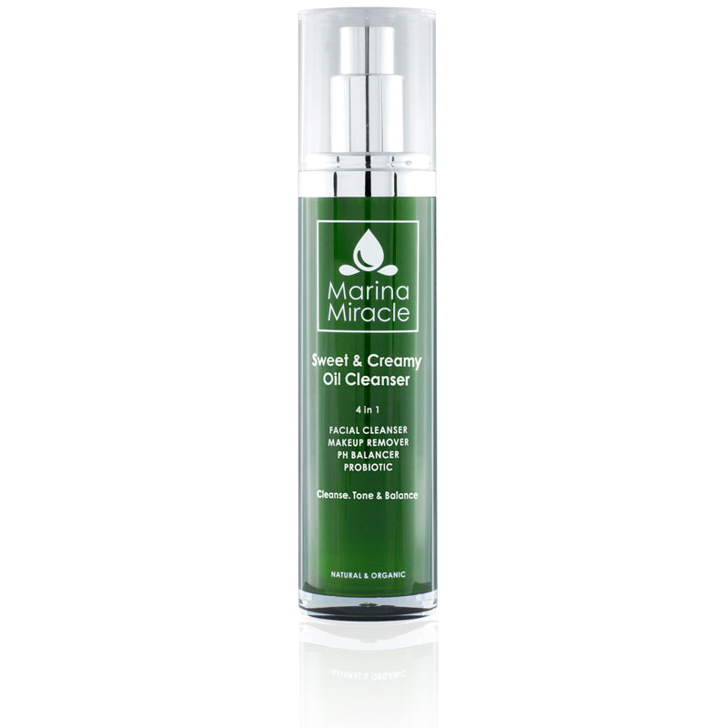 Marina Miracle Sweet & Creamy Oil Cleanser 50 ml in a green air less bottle with pump