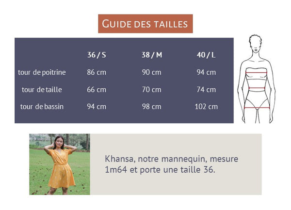 guide des tailles robe portefeuille