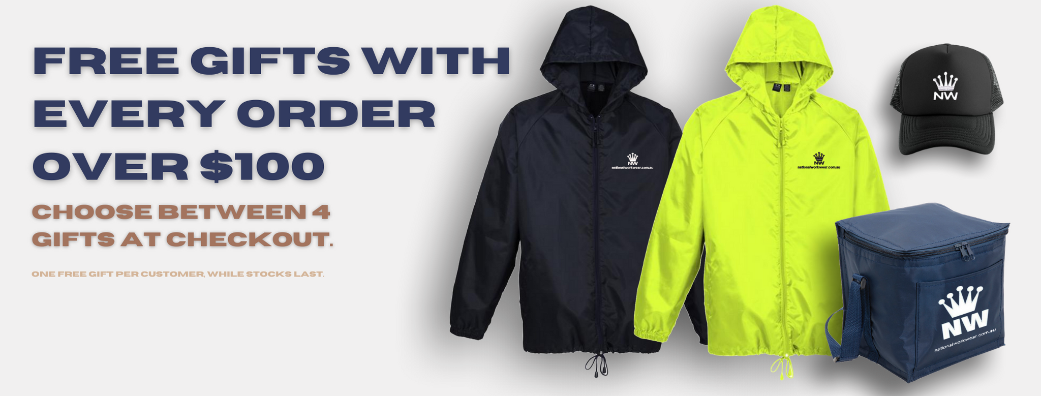 Free gifts at National Workwear Gold Coast Australia. Affordable high quality workwear