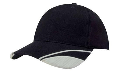 Headwear - 6PNL cap w/peak mesh inserts - 4058 - National Workwear Australia