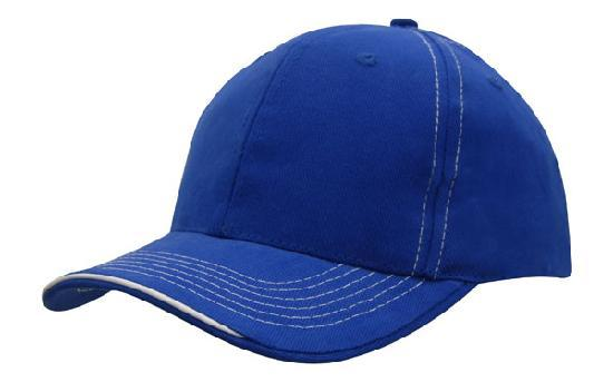 Headwear - 6PNL Cap with contrast Stitching & sandwich - 4097 - National Workwear Australia