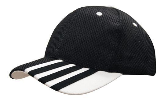 Headwear - 6PNL sandwich mesh w/peak stripes - 4109 - National Workwear Australia