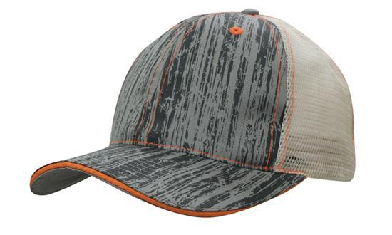 Headwear - 6Pnl Woodprint Poly Twill Mesh - 4143