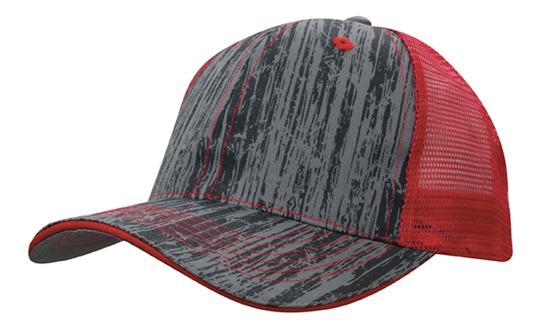 Headwear - 6Pnl Woodprint Poly Twill Mesh - 4144 - National Workwear Australia