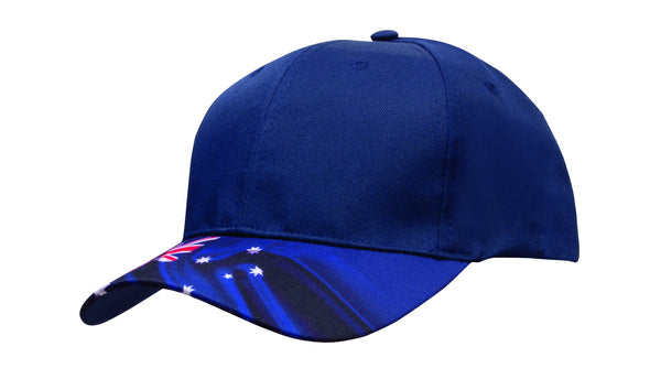 Headwear - 6Pnl Breathable P/Twill Cap W/Aust Flag - 4190 - National Workwear Australia