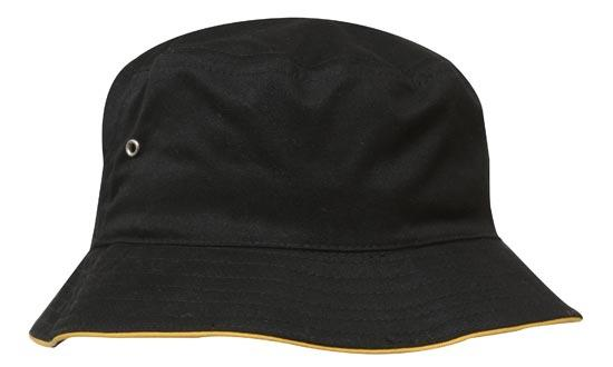 Headwear - Bucket Hat with sandwich trim Brushed Heavy Sports Twill - 4223