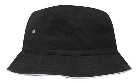 Headwear - Bucket Hat with sandwich trim Brushed Heavy Sports Twill - 4223 - National Workwear Australia