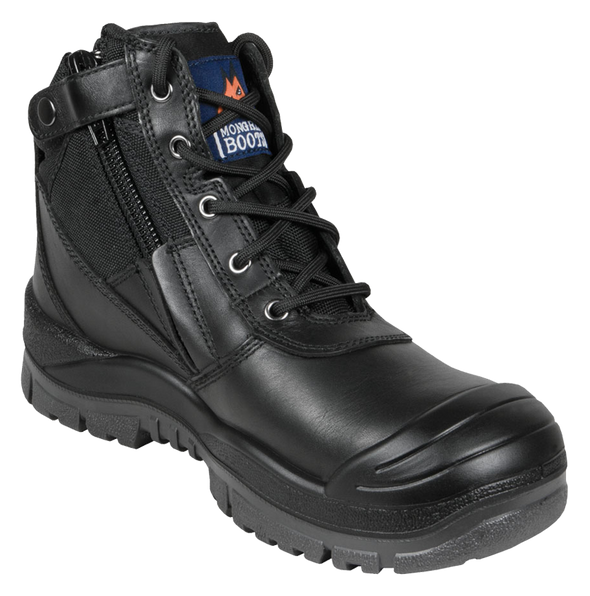 Mongrel Boots Black Zip Sider Boot with Scuff Cap at National Workwear Gold Coast Australia