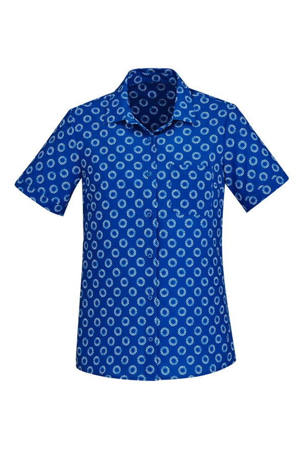 Biz Care - Women's Easy Stretch Daisy Print Short Sleeve Shirt - CS948LS - National Workwear Australia