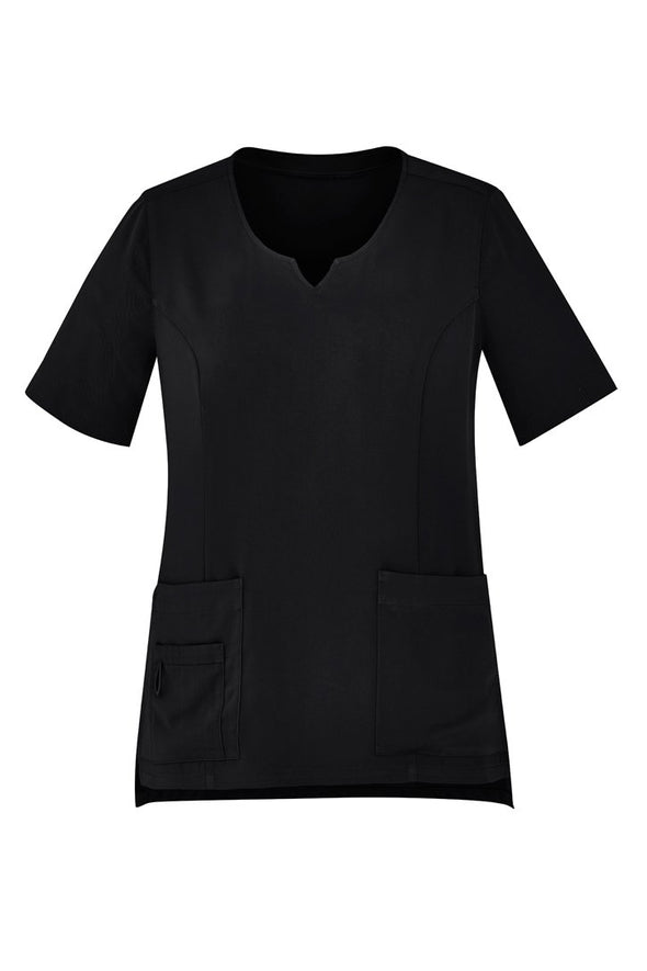 Biz care - Women's Tailored Fit Round Neck Scrubs Top - CST942LS - National Workwear Australia