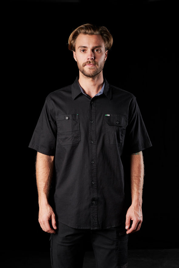 The FXD Workwear SSH-1 Short Sleeve Work Shirt, colour black, photographed from the front.