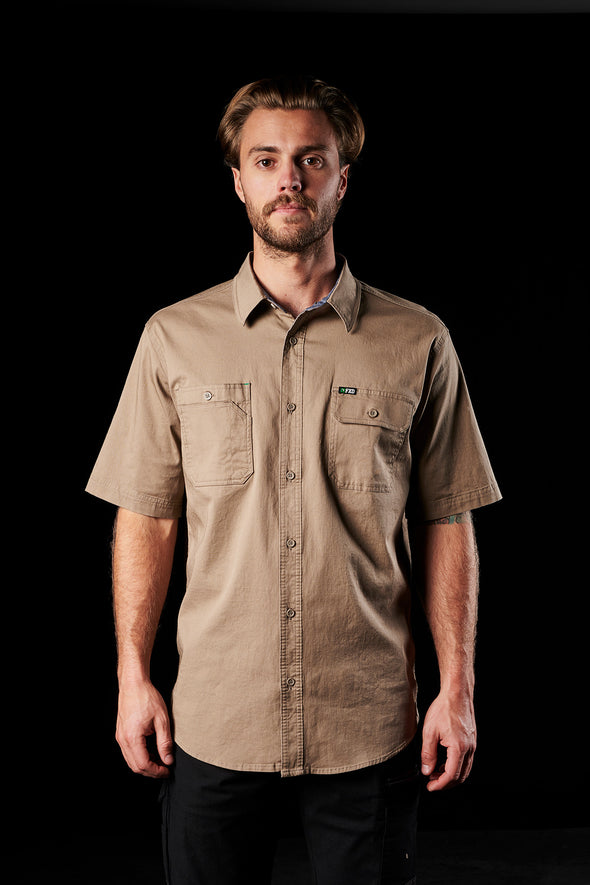 The FXD Workwear SSH-1 Short Sleeve Work Shirt, colour khaki, photographed from the front.