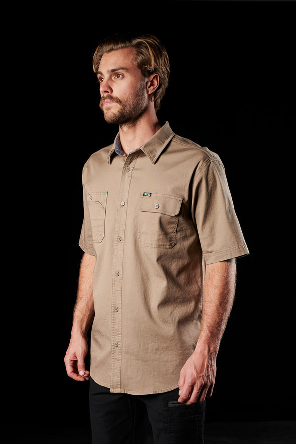 The FXD Workwear SSH-1 Short Sleeve Work Shirt, colour khaki, photographed from the front-right.