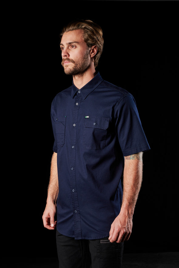 The FXD Workwear SSH-1 Short Sleeve Work Shirt, colour navy, photographed from the front-right.