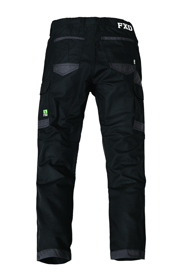 The FXD Workwear WP-5 Lightweight Work Pant, colour black, photographed from the back.