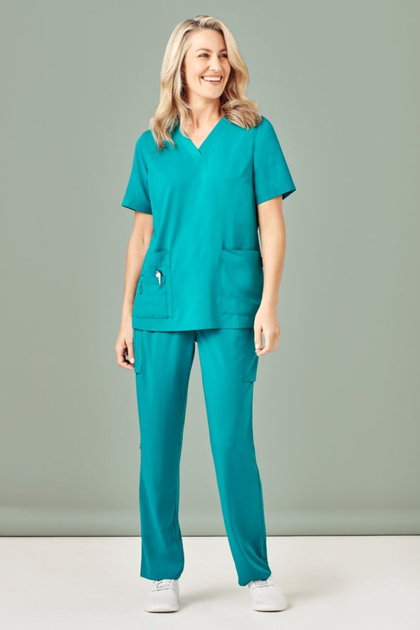 Biz Care - Women's Easy Fit V-Neck Scrubs Top - CST941LS - National Workwear Australia